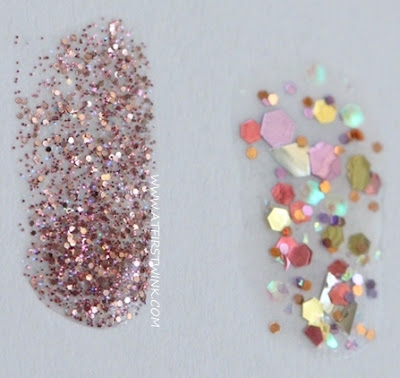 Review: Modi Art Nails set no. 1 - Glitter Layered Collection swatched on paper