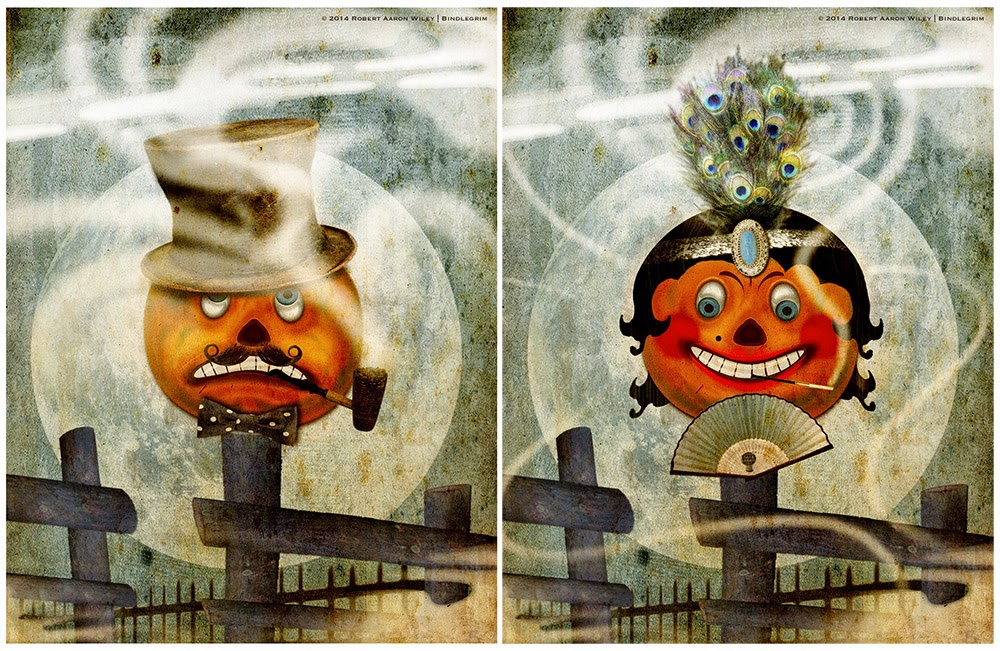 Original Halloween art by Bindlegrim features 1920s style mail and female German-style vintage pumpkins on a fence post under a full moon.