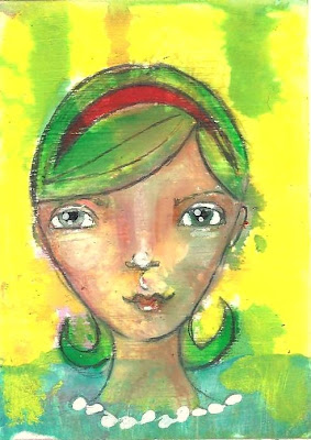 Whoopidooings: Carmen Wing - Green Haired Girl ATC/ACEO