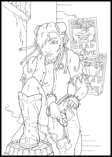 a desenhar chun-li lutando  colorir