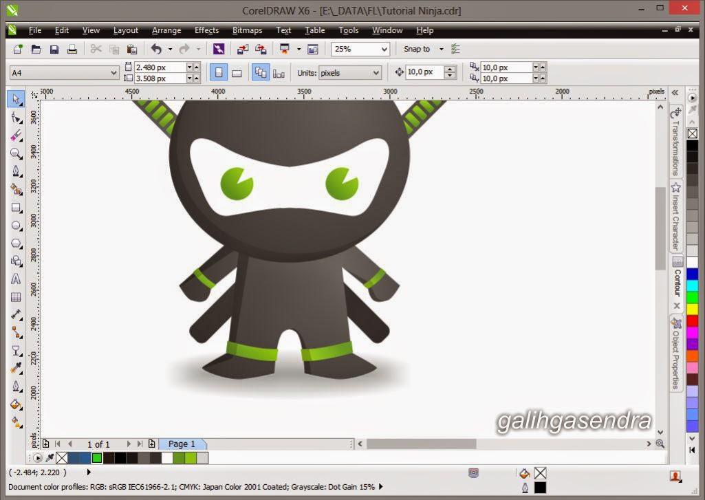 Character Design Tutorial In Coreldraw : Coreldraw tutorial little ninja galih gasendra