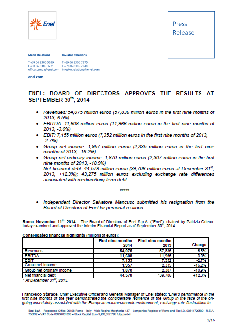 Enel, Q3, 2014, front page, report