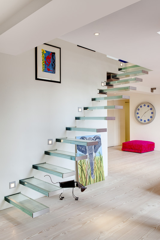 Picture of modern glass staircase to the upper floor