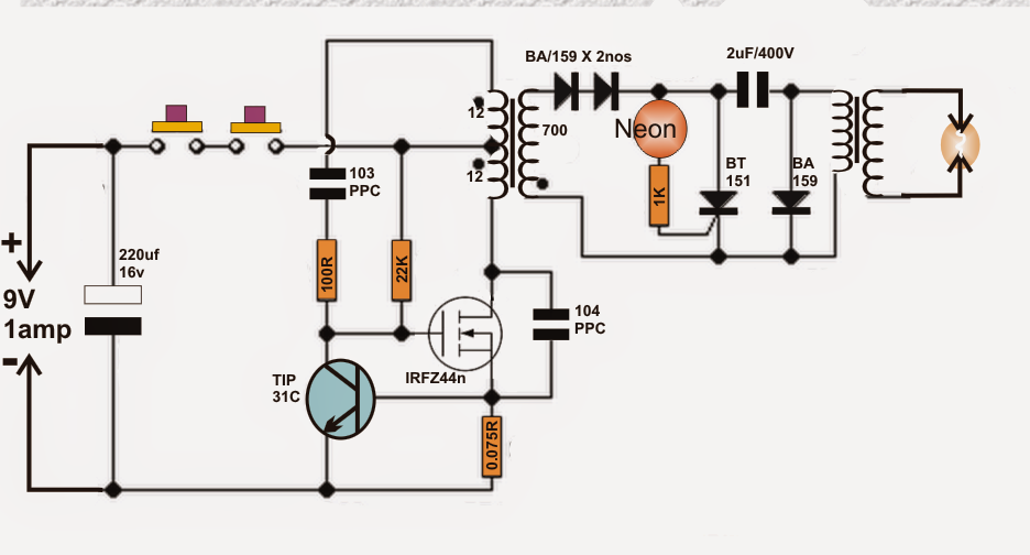 Simple Electric Shock Gun Circuit Diagram Check More At Tech
