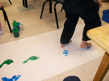 Foot Painting to Create our Tree Trunk