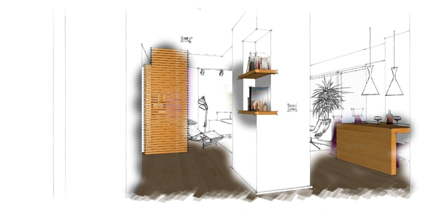 Drawing of new redesigned hallway into the living room