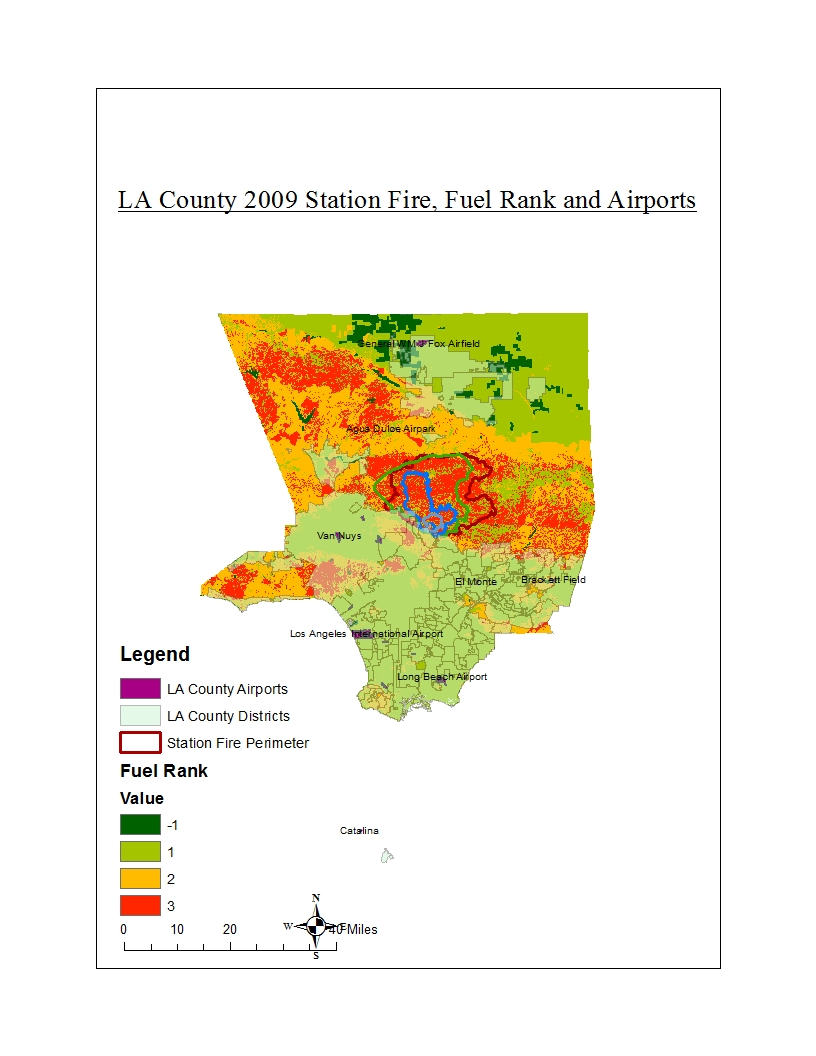 the thematic map displayed above shows the spread of the fire over time through the angeles national forest the fuel rank and major airports in the county