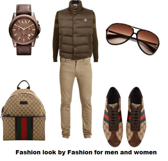 Dark brown wrist watch, sun glasses and joggers for men