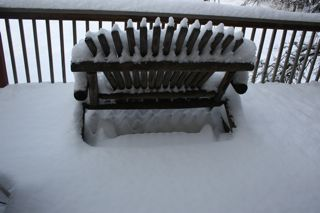 photo of snow covered deck