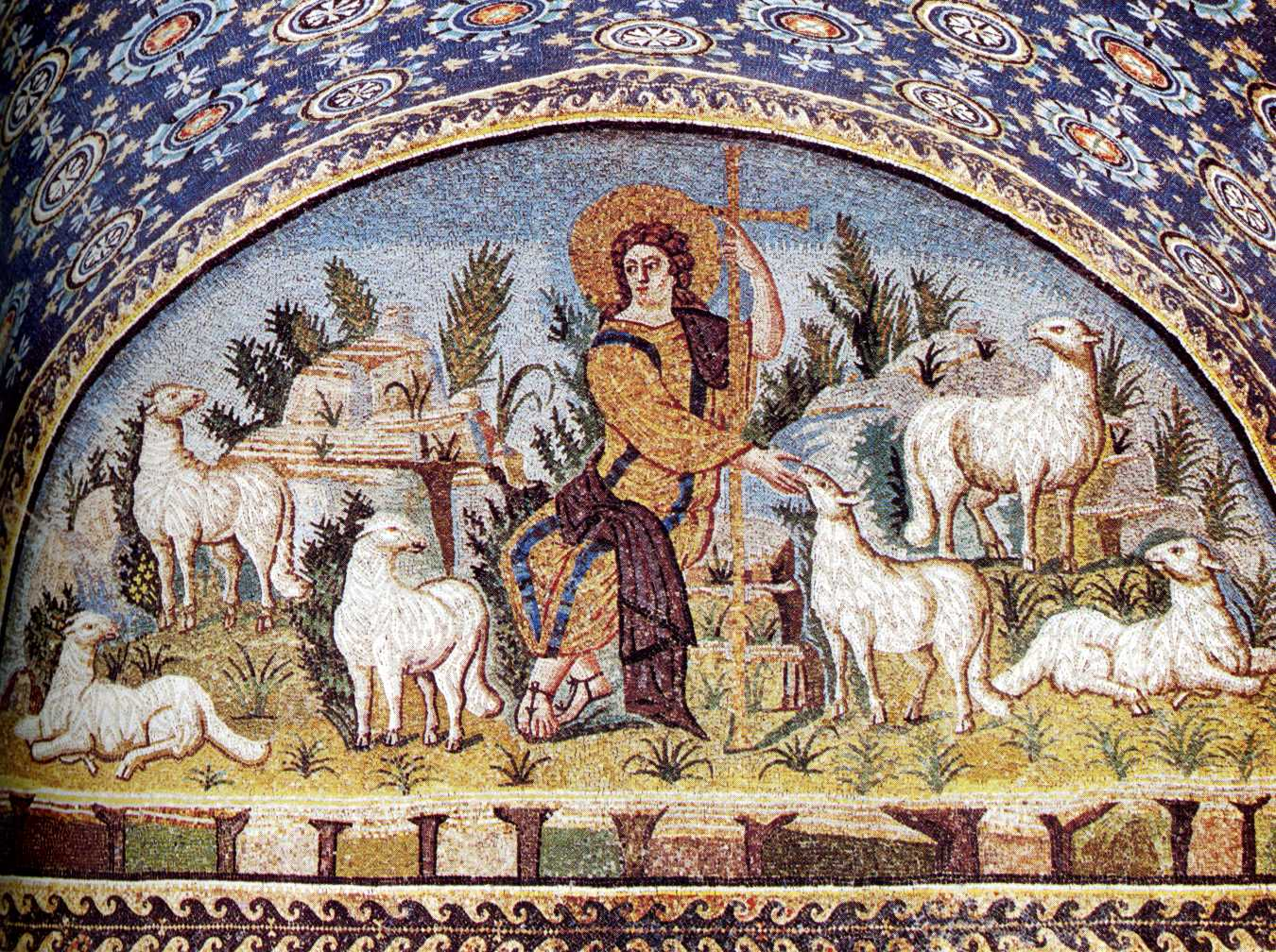 Art history symbolism and legends green paradise and the color jesus as the good shepherd mosaic v c galla placidia mausoleum ravenna italy biocorpaavc Image collections