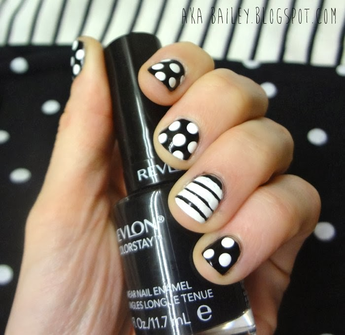 Black nails with white polka dots, white nails with black stripes