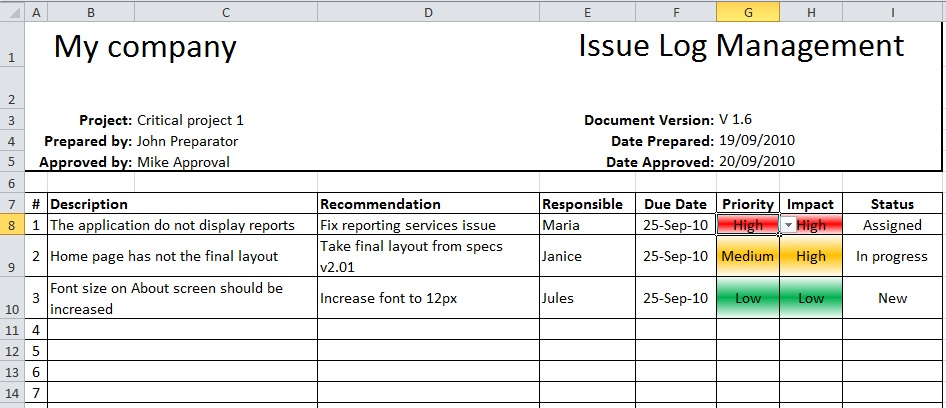 project issues log template excel