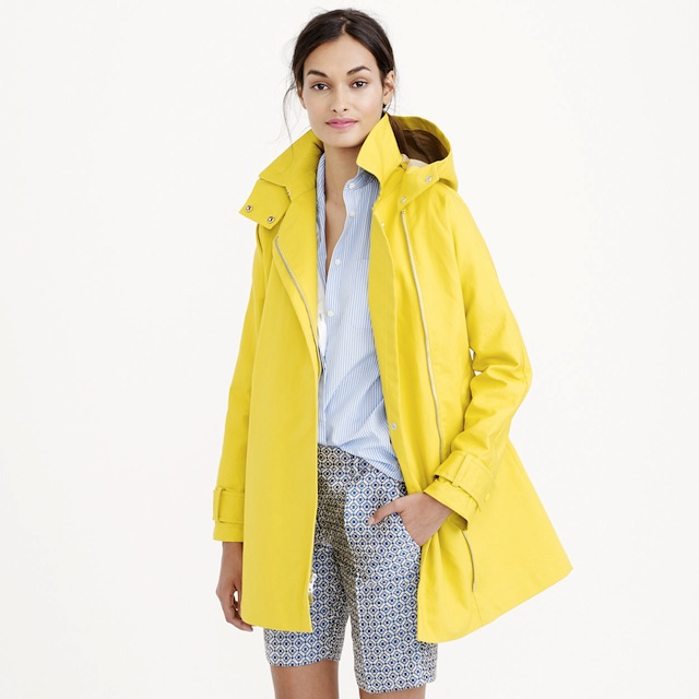 J Crew Yellow Swing Coat Trench Raincoat
