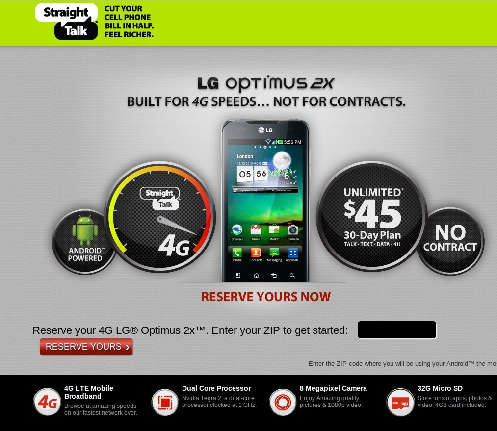 Fooled - Straight Talk's Optimus LG 2X Doesn't Use AT&T or Have LTE