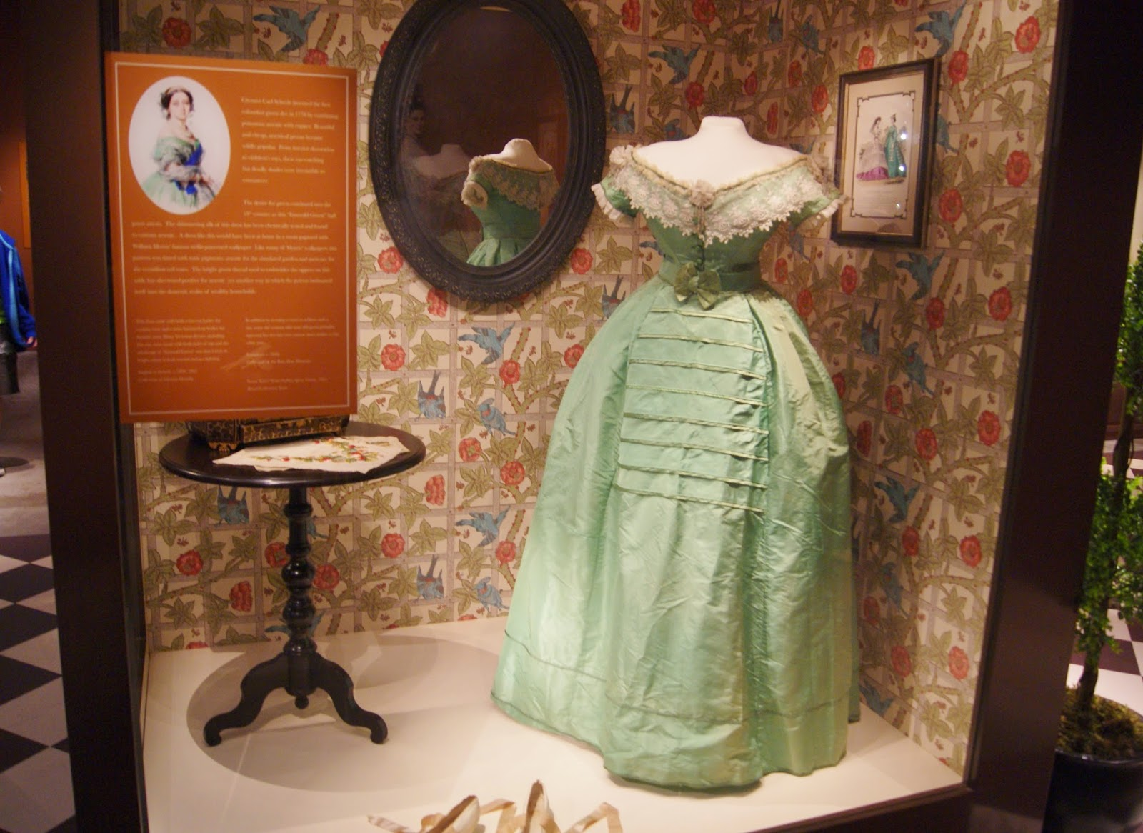 Fashion Victims: The Pleasures and Perils of Dress in the 19th Century Exhibit at Bata Shoe Museum in Toronto, Culture, The Purple Scarf, Melanie.Ps, Dress, Ontario, Canada, Clothing, History, Disease, Factory, Sewing, Arsenic Green