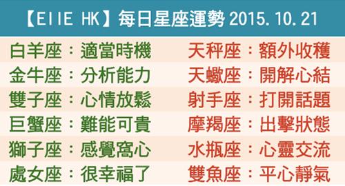【EllE HK】每日星座運勢2015.10.21