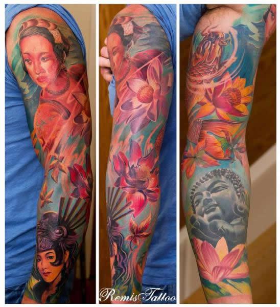 Tatuagem feminina no braço budista - tatuagem oriental