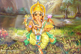god ganesh in a beautiful place