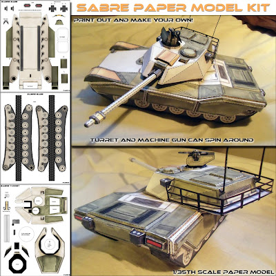 Battle Tank Sabre Main Papercraft