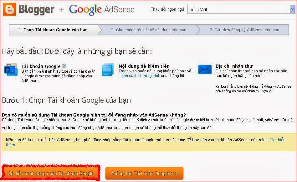 đăng ký google adsense