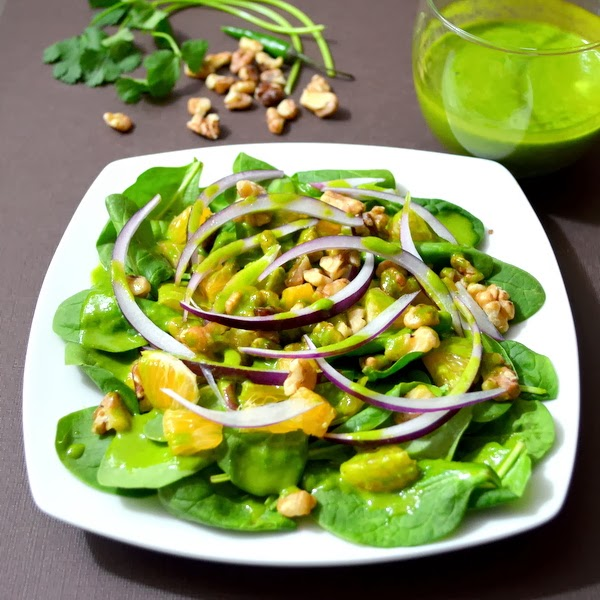 Happily Spiced: Spinach Salad with Chili-Lime-Maple-Cilantro Dressing