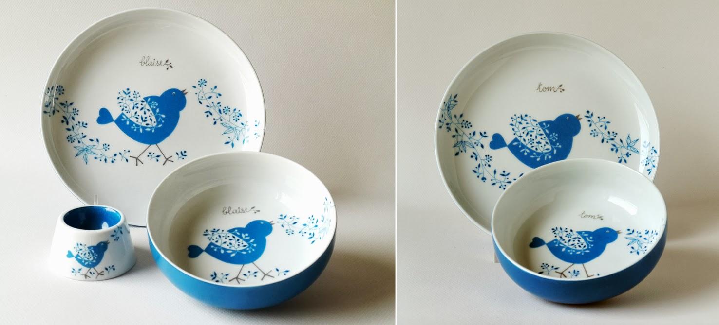 carolina leon firrell vaisselle personnalis e pour b b en bleu. Black Bedroom Furniture Sets. Home Design Ideas