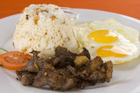 Fried Rice, Fried Egg With Cured Beef With Tomato - TapSiLog Filipino Dish