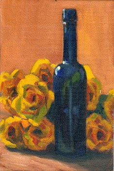 Oil painting of a blue castor oil bottle surrounded by yellow plastic flowers and illuminated by the afternoon sunlight.