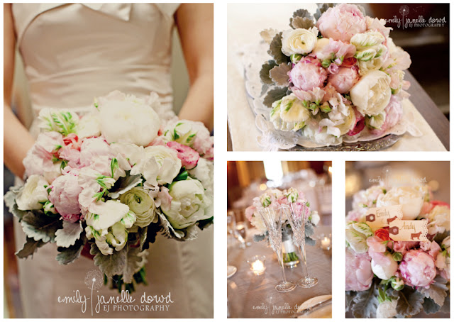 michigan wedding florist, sweet pea floral design, brides bouquet, pink, ivory, peony, rose, tulip, ranunculus, dusty miller, sweet pea, viva la diva events