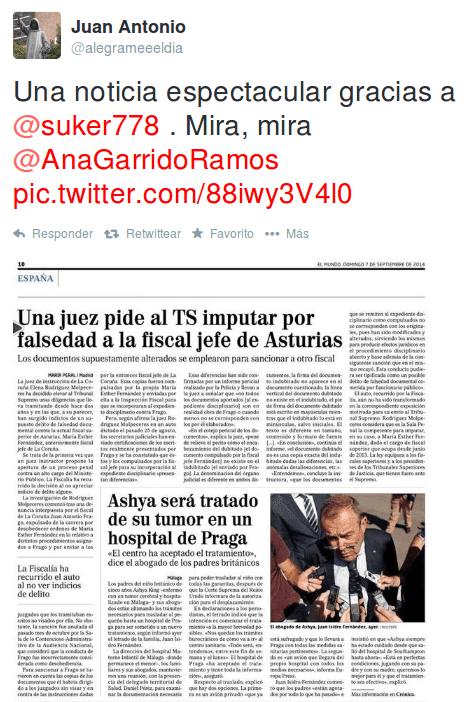 Una juez pide al TS imputar por falsedad a la fiscal jefe de Asturias
