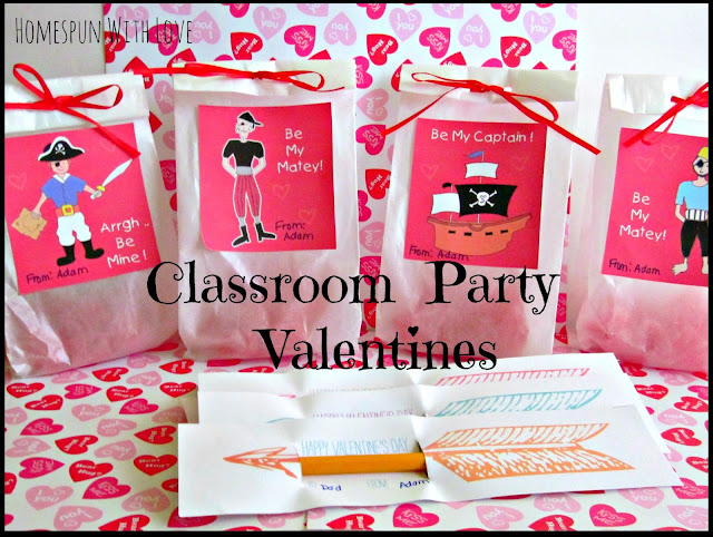 Homespun With Love: Classroom Party Valentines - Free Printables