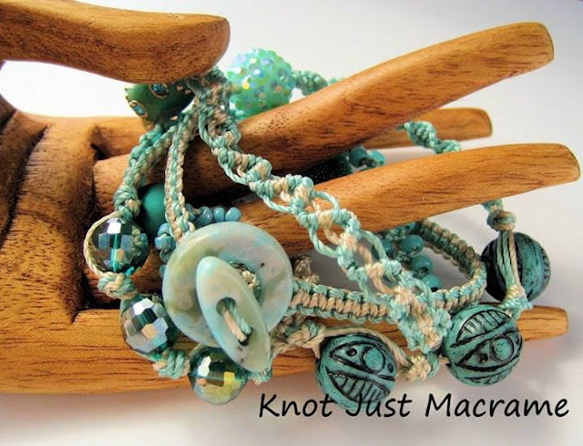 Micro macrame knotted wrap bracelet by Sherri Stokey eClass available