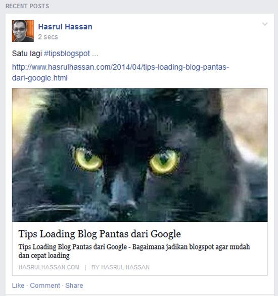 Tips bagaimana Entri Blog Menyerlah di Facebook