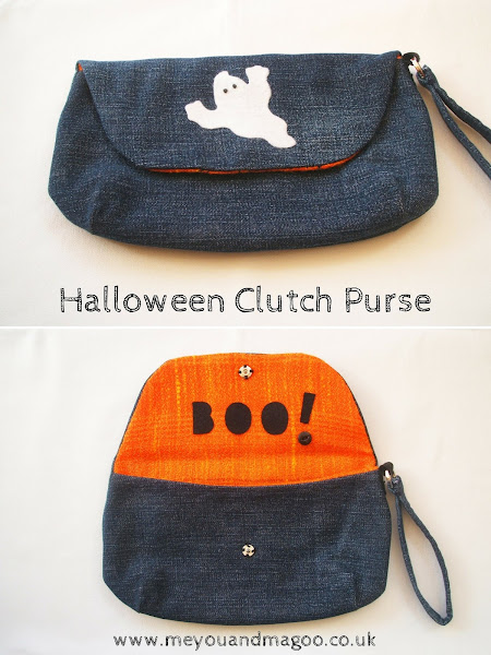Halloween denim clutch purse and reminiscing about Etsy Street Teams