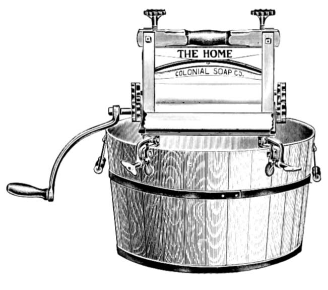 ... pig clip art: Antique 1900s Laundry Machine Clothes Wringer Clip Art