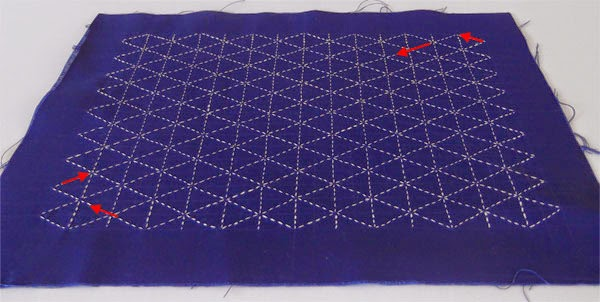 sashiko tutorial, sashiko lesson, shashiko designs, asa-ho-ha, geometric pattern, sashiko patterns, gemotric embroidery