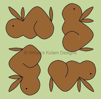 Rabbit kolam Dots 7 x 7