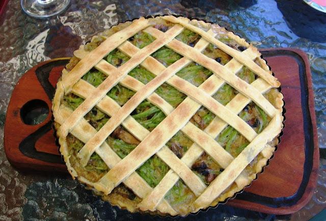Green Bean, Mushroom And Caramelized Onion Tart Recipe — Dishmaps