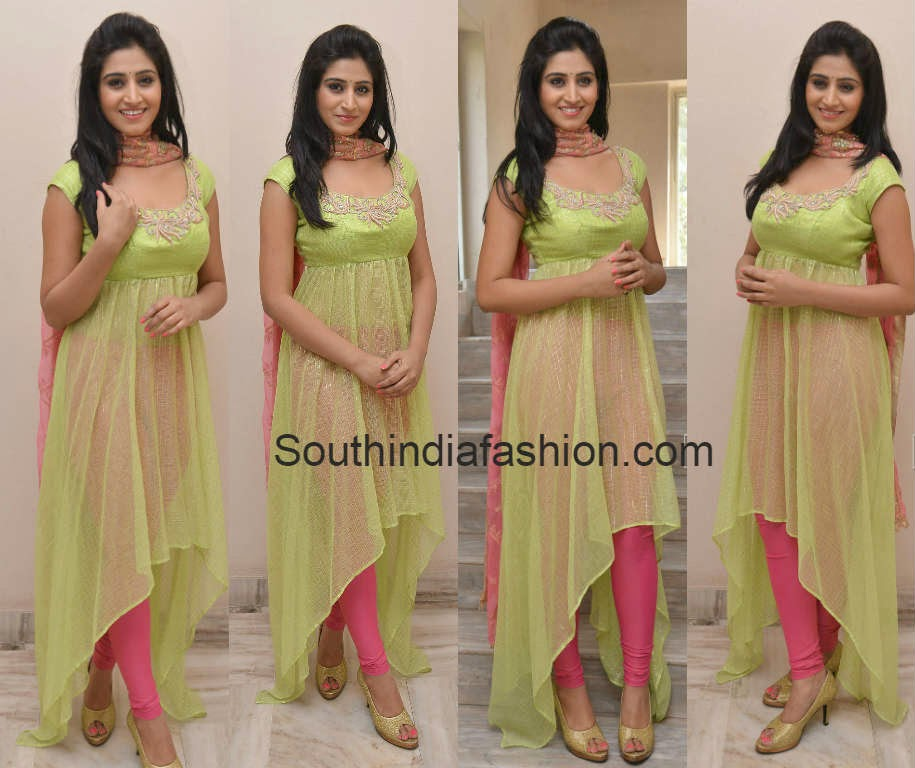 model shamili in green anarkali