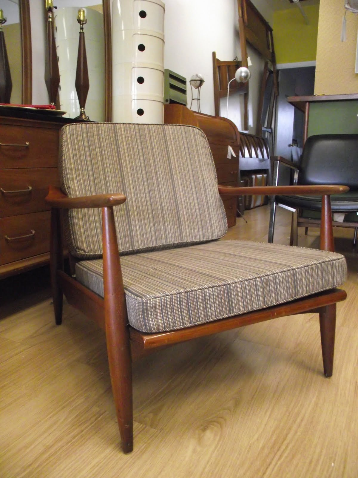 Surroundings Co.: 'New Stripes' MidCentury Modern Danish Lounge Chair