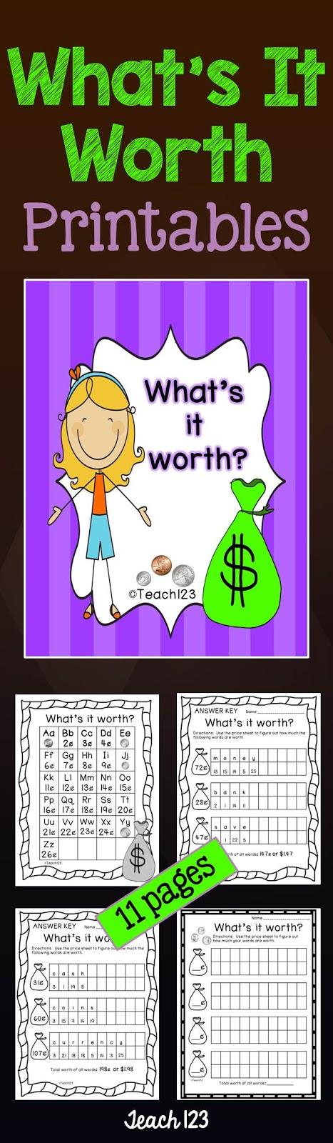Teach 123 Money What's It Worth Printables at TeachersPayTeachers