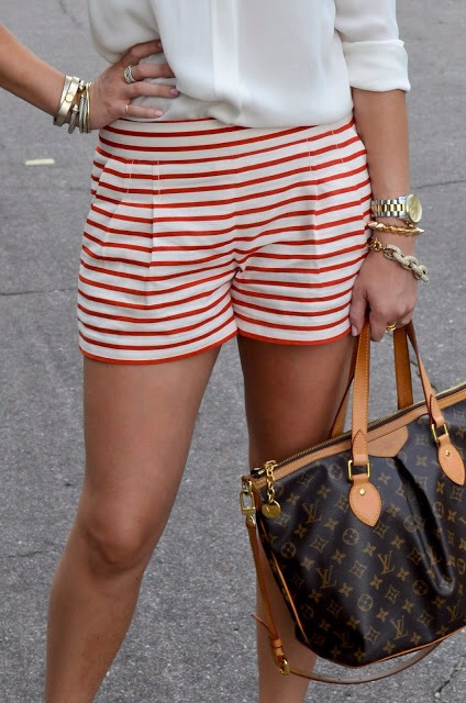 red and white striped shorts, fourth of july outfit, louis vuitton bag, denim shorts alternatives, wears waldo shorts