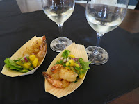 Grilled Sweet Chili Shrimps topped with Mango Salsa paired with Konzelmann Pinot Blanc