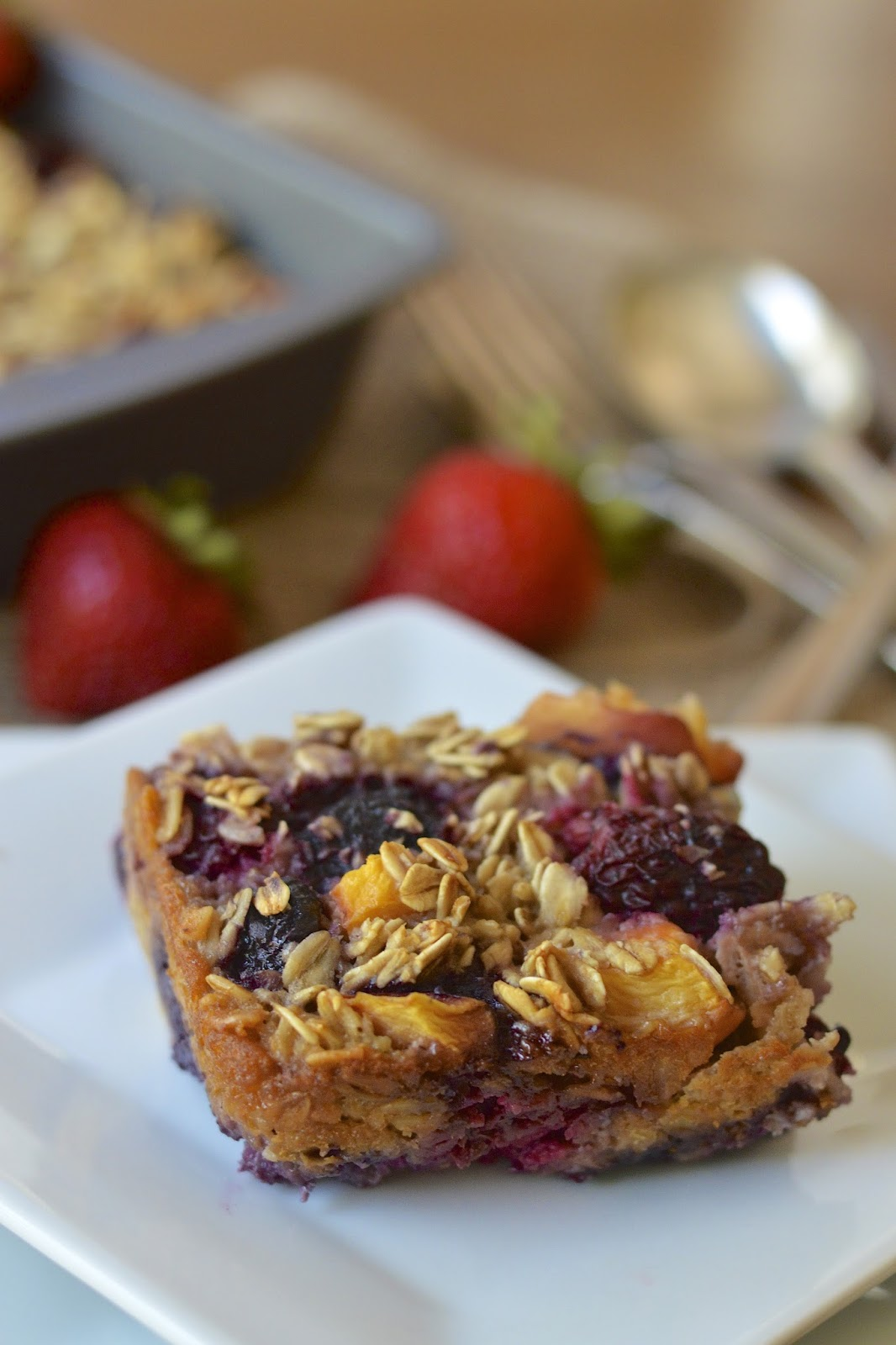 Mixed Summer Fruit Baked Oatmeal Packed with Healthy Ingredients and a ...