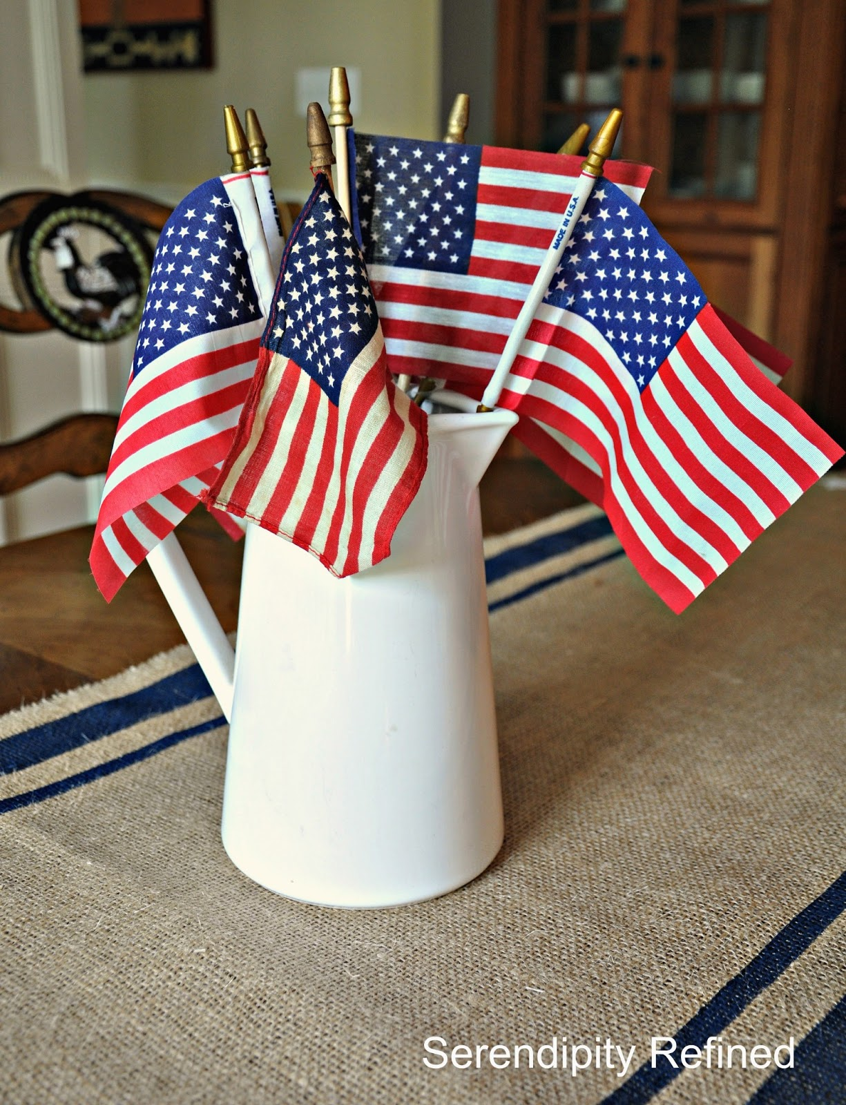 Patriotic 4th of July Burlap Table Runner - Fox Hollow Cottage