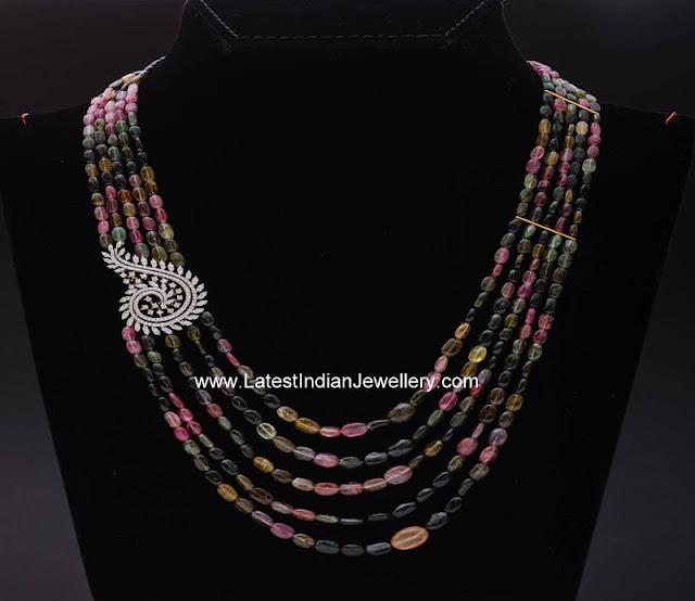 Multi Color Tourmaline Beads Necklace