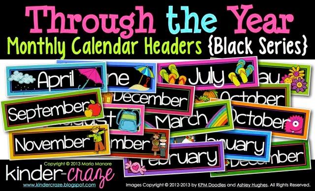 Monthly Calendar Headers Black Series