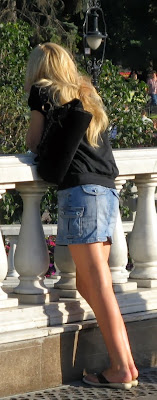 Girl in tight jean skirt on the street