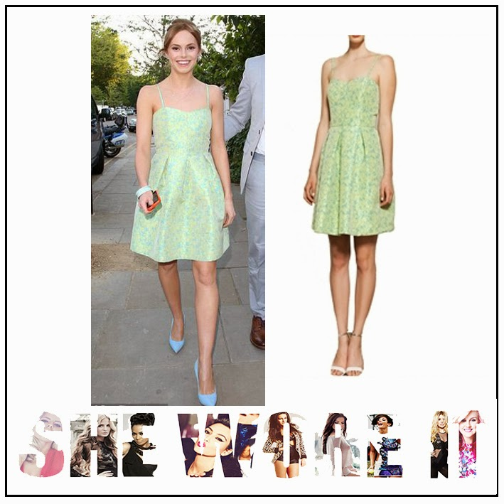 Dress, Floral Print, Green, Hannah Tointon, Light Blue, Lime Green, Pastel, Pleated, Prom Dress, Related, Sleeveless, Sweetheart Neckline,