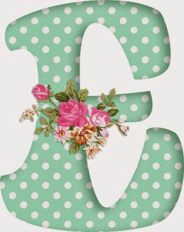 Alfabeto decorativo verde com bolinhas brancas e flores alfabetos lindos para imprimir - Letras grandes decoradas ...